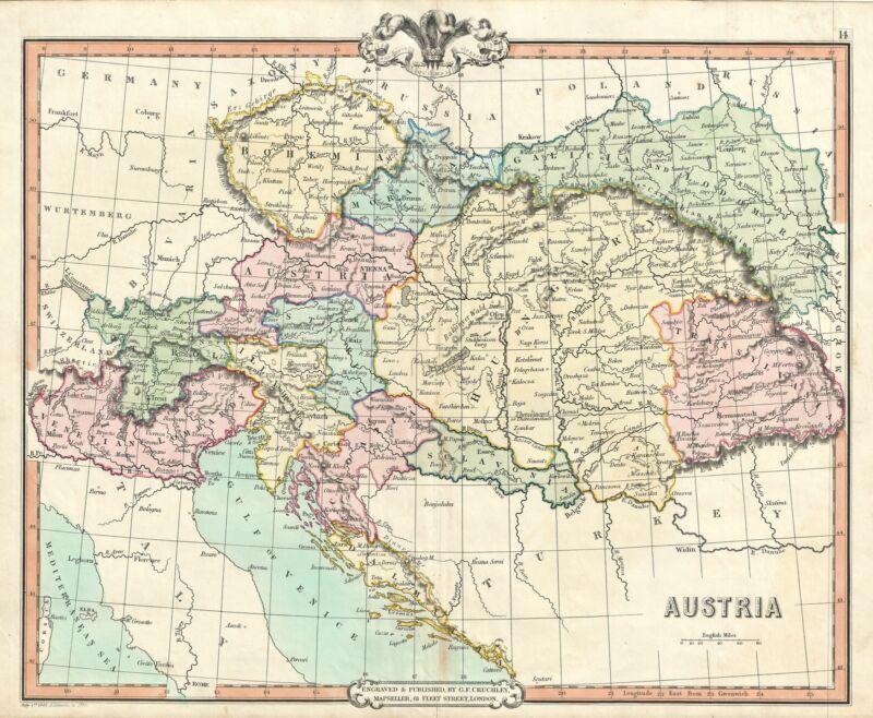 1850 Cruchley Map of Austria