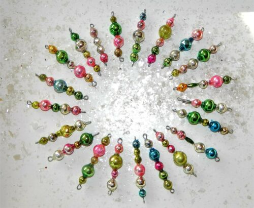 21 MINI Mercury Glass Bead EASTER Feather Tree Garland Bead Icicle Ornaments