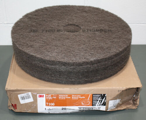 "(5) 3M 20"" Round Fiber Stripping Pad 7100, Brown, Non-Woven Nylon/Polyester"