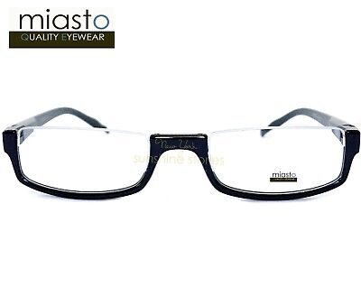 MIASTO TOP RIMLESS RECTANGLE HALF READER READING GLASSES+2.00 BLACK LARGE~ (Large Rectangle Glasses)