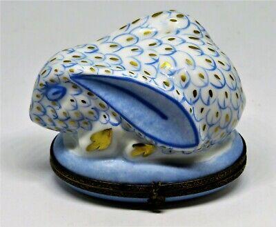 LIMOGES FRANCE BOX - BLUE & WHITE FISHNET BUNNY -FISH NET RABBIT- LILLIAN VERNON