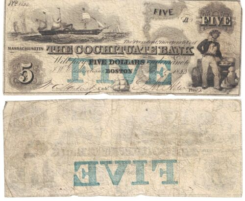 1853 $5 The Cochituate Bank Boston Massachusetts G8C Obsolete Currency #8626