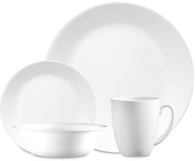 Corelle Classic Winter Frost White Round 16-Piece Dinnerware Set NEW!