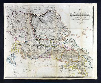 1849 Muller Map Extra Peloponnesian Greece Pre War Attica Athens Delphi Thessaly