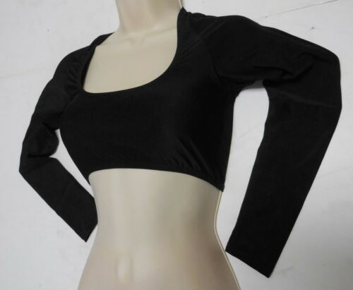 Black Shrug Long Sleeve Square Neck Crop Top DANCE COSTUME Matte Spandex Ladies