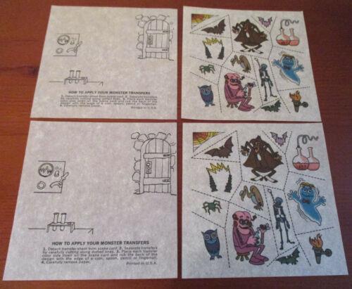 General Mills - Vintage Promotional MONSTER TRANSFER Sheets - UNUSED Lot of 2