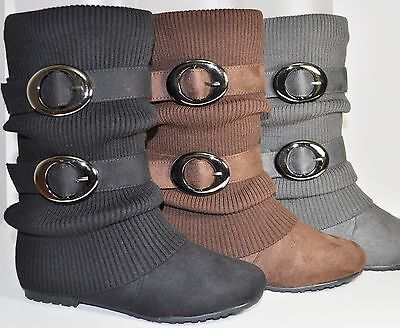 NEW ANNA N060 WOMENS FASHION SLOUCHY FLAT BOOTS KNIT TOP TWO BUCKLE BK, BR, GY