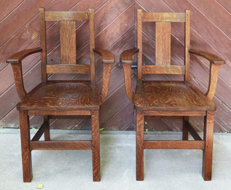Limbert quartersawn oak arts and crafts short arm dining chairs