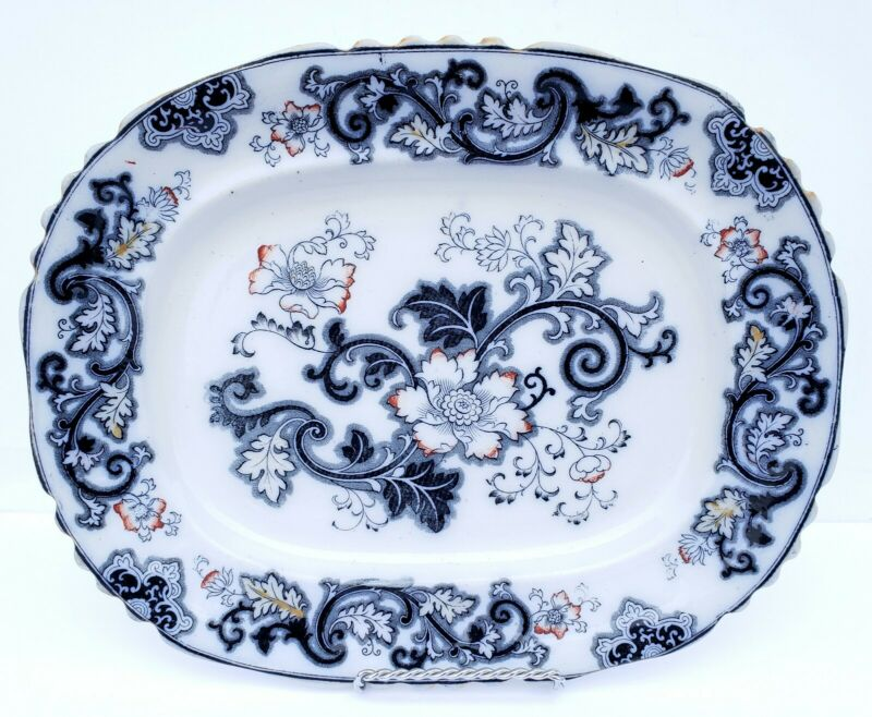 Antique Ashworth Bros Hanley England Imari Blue Ironstone Platter 1862-1890