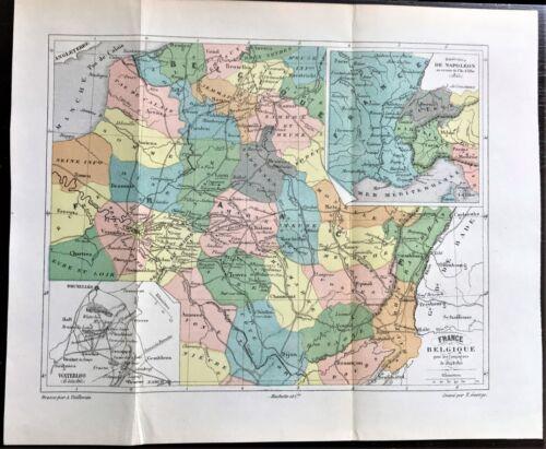 Original 1896 Color Antique Map of FRANCE & BELGIUM Napoleon 1815 ~ RARE