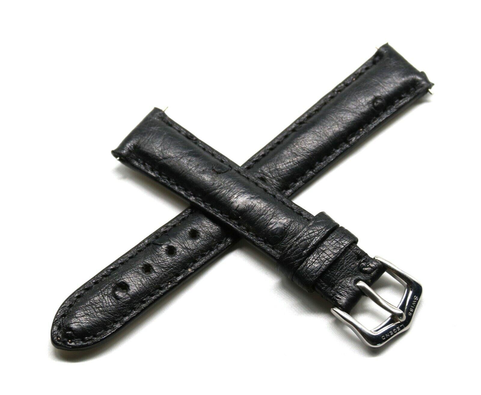 Rotary Uhrenarmband Echt Straußenleder Schwarz 16/14 mm