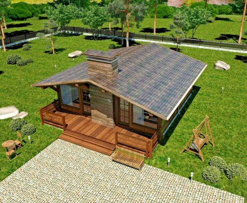 860 sq.ft PREFAB TIMBER FRAME KIT ENGINEERED WOOD HOUSE DIY BUILDING CABIN HOME