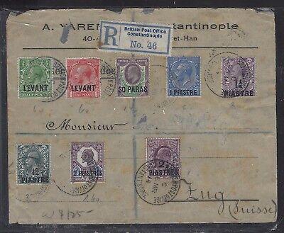 BRITISH LEVANT OFFICES IN TURKEY (P1410B) 1914 KE+KGV 8 STAMPS REG TO SWITZERLAN