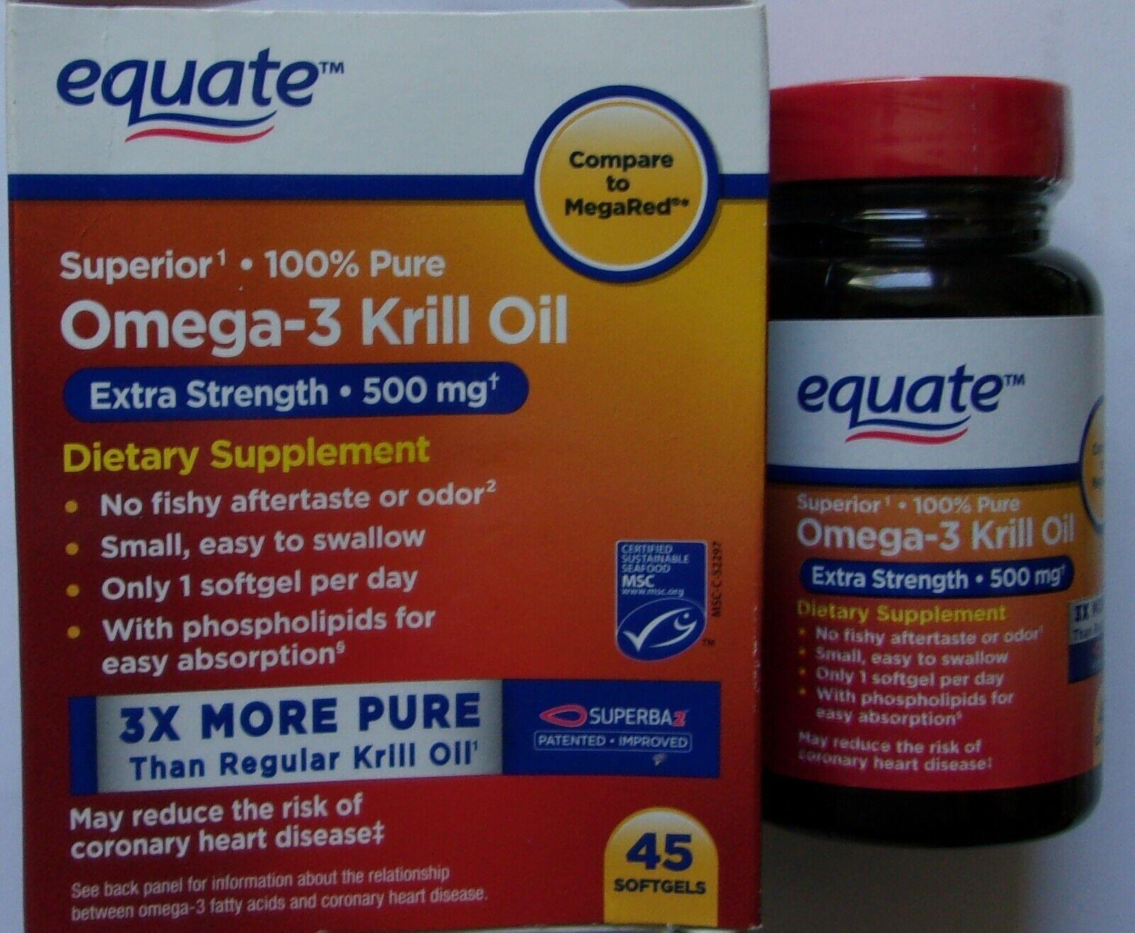 Equate Extra Strength 100% Pure Omega-3 Superba 500 mg Krill