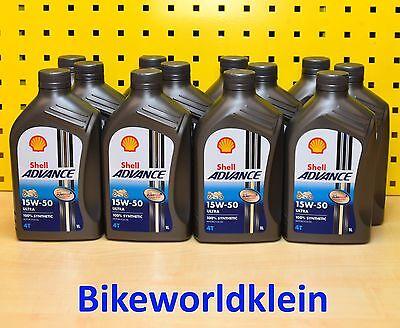 (6,50€/L) 12 L Shell Advance Ultra 15W50 Motoröl Motorrad Vollsynthetik Ducati 4