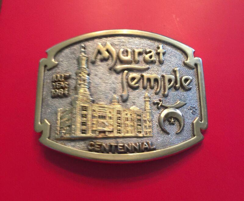 Vintage Shriners 24K GP Belt Buckle MURAT TEMPLE CENTINNIAL First Edition No.264