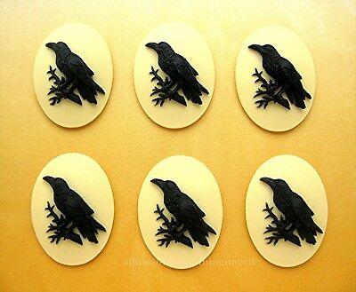 6 BLACK BIRD GOTH CROW RAVEN on IVORY Color 25mm x 18mm Costume Jewelry CAMEOS