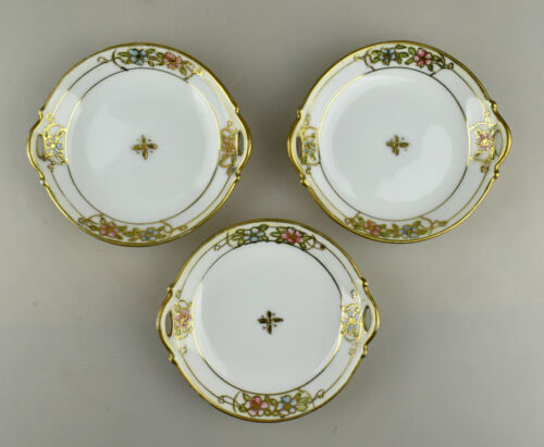 Three VTG Porcelain Hand Painted Nippon Butter Pats Blue Pink Flowers Gold Trim