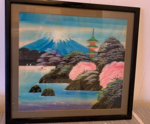 VINTAGE JAPANESE ASIAN PAINTING ON FABRIC ART FUJI MOUNTAIN SIGNED FRAMED