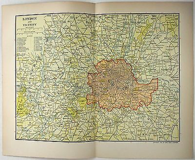 Original 1903 Dated Map of London and Vicinity by Dodd Mead & Company