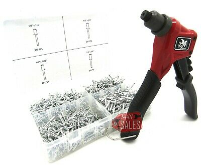 New 8 Heavy Duty Hand Riveter Pop Rivet Aluminum Hand Gun 1000pc Blind Rivets