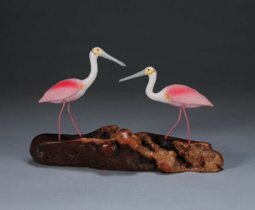 ROSEATE SPOONBILL DUO BY JOHN PERRY 7in tall Sculpture art Statue Figurine