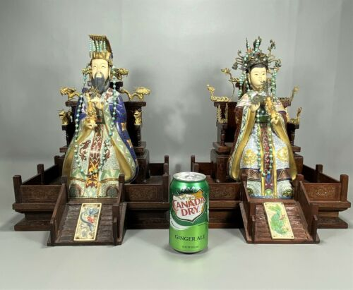 Large Chinese Cloisonné Silver Enamel Emperor & Empress on Inlaid Wood Thrones