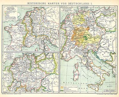 Alte Landkarte 1894: Historische Karten von Deutschland I. (B14)