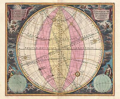1708 Cellarius Celestial Map illustrating the Spheres