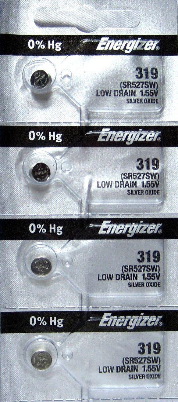 4 Energizer 319 Watch Battery SR527SW SR527W Battery