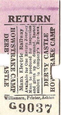Manx Electric Railway Edmondson Ticket - Derby Castle to Howstrake Camp