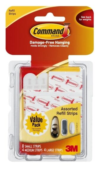 3M COMMAND [Refill Strips Value Pack] 8 x SMALL 4 X MEDIUM 4 X LARGE 17200CL NEW