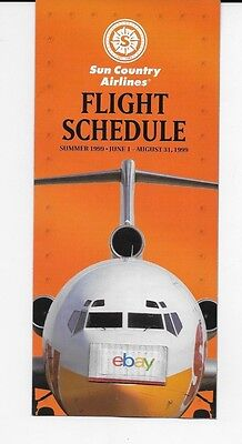Sun Country Airlines System Timetable Summer 1999 727 200 Cover Route Map