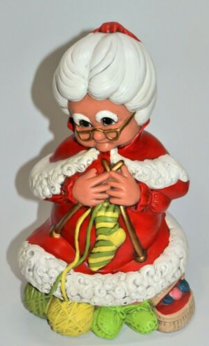 Vintage Ceramic Hand Painted Atlantic Mold Mrs. Claus Kitting in Rocking Chair