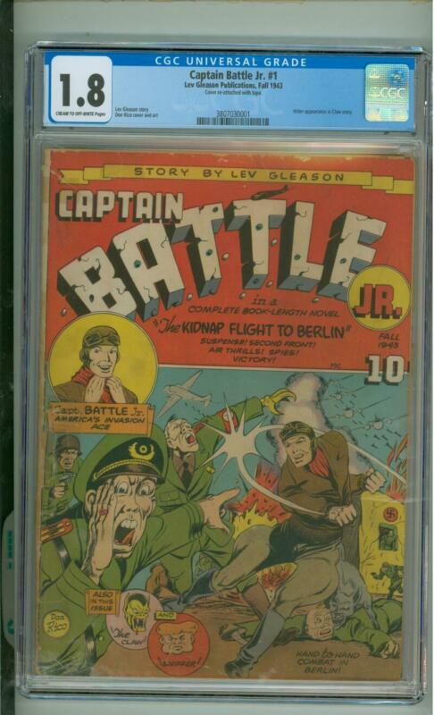 Captain Battle #1 CGC 1.8 Hitler App In Claw Story 1943