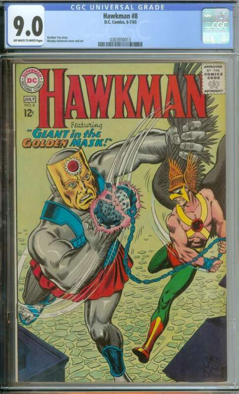 HAWKMAN #8 CGC 9.0 OW/WH PAGES