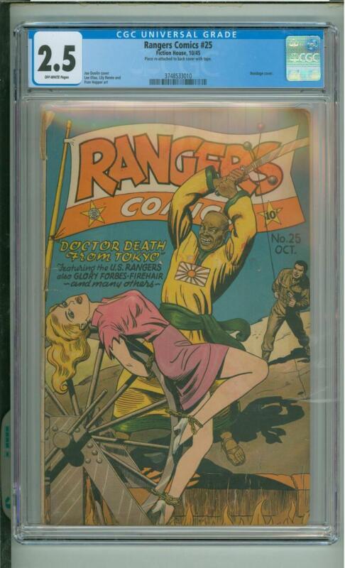 Rangers Comics #25 CGC 2.5 Bondage Cover 1945