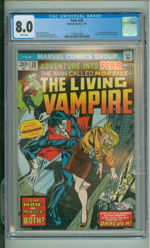 Fear #20 CGC 8.0 The Living Vampire 1974