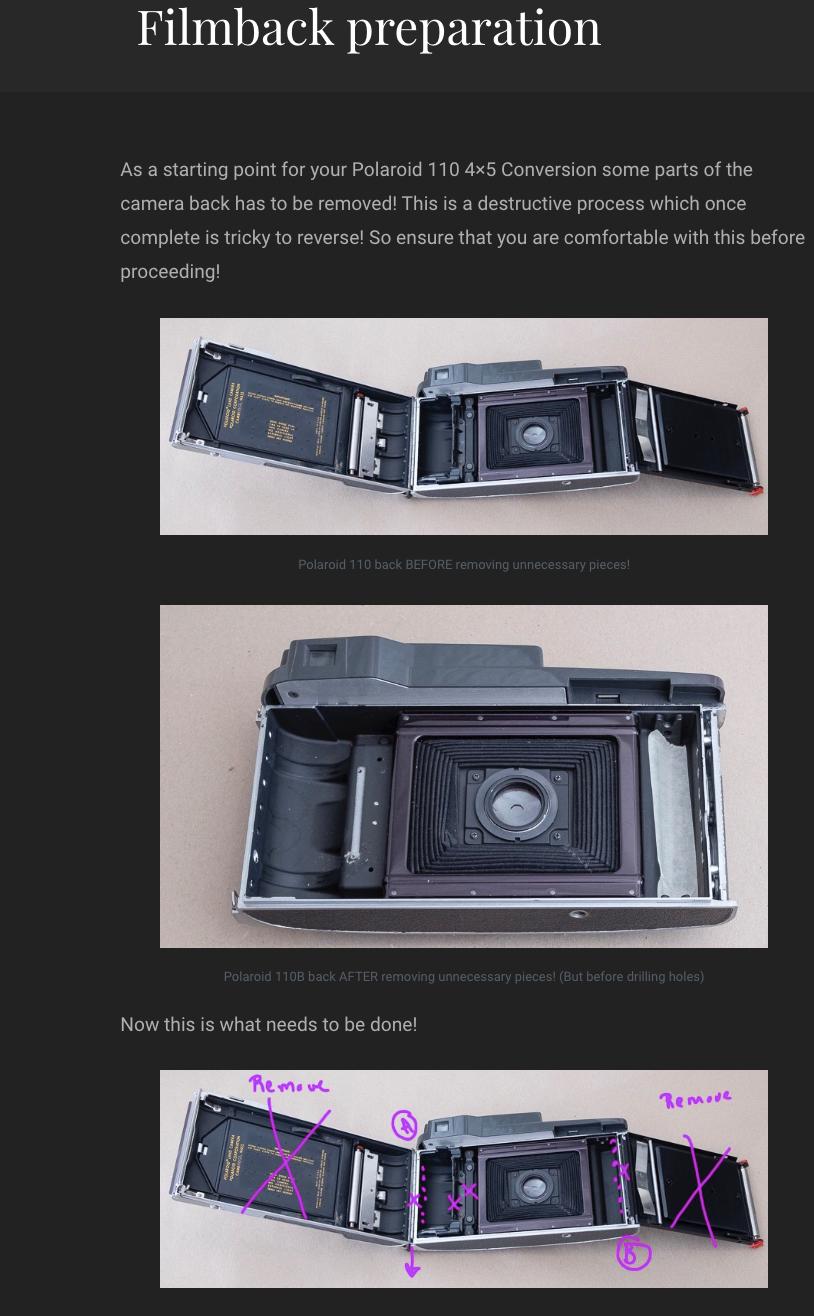 как выглядит Polaroid 110A/B 3d printed 4x5 conversion kit instructions English and German фото
