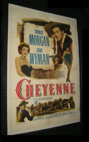 Orignl 1947 CHEYENNE Linen Backed One Sheet JANE WYMAN Raoul Walsh DENNIS MORGAN