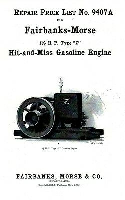 Fairbanks Morse Z 1 1/2 hp Hit Miss Gas Engine Motor Flywheel Book 94017A