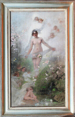Alexander Koester Spring Nude Erotic Nymph Putti Cherry Blossom Veil Youth