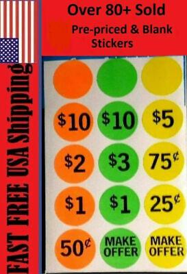 360 Neon Yard Garage Rummage Sale Price Tag Sticker Labels-prepriced Blank