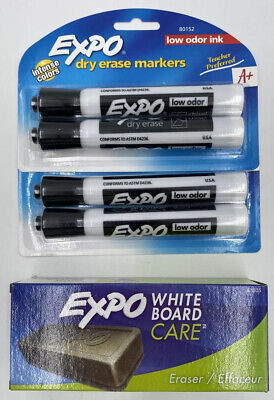 Expo Dry Erase White Board Black Markers And Eraser Lot New Sealed