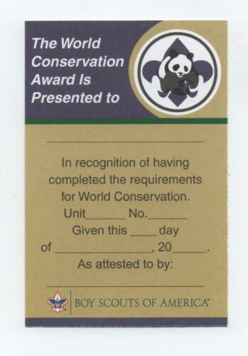 World Conservation Award Certificate Card (Print 2012), White Card Stock, Mint!