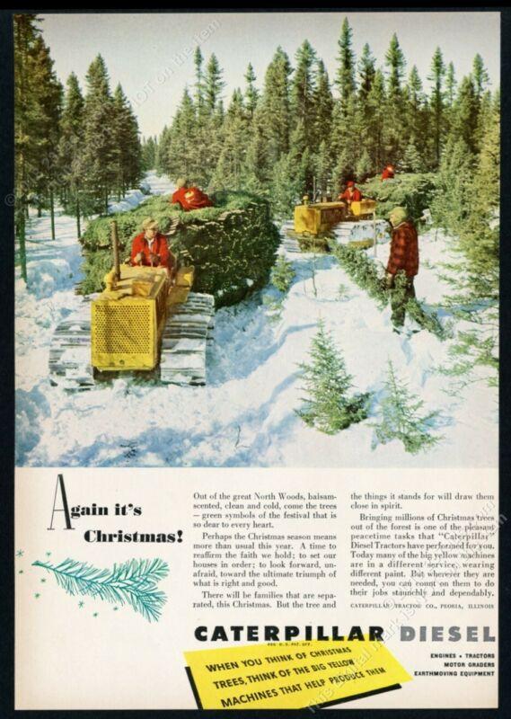 1950 CAT Caterpillar tractor Christmas tree farm photo vintage print ad
