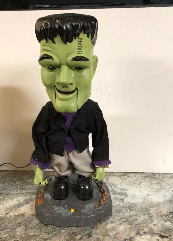 "Gemmy Frankenstein Big Head Singing Dancing Dinging Monster Halloween Prop 17"""