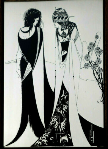 VINTAGE AUBREY BEARDSLEY Salome with Mother ART NOUVEAU GLASS PICTURE MIRROR