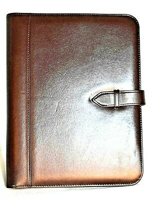 Vintage Red Leather Portfolio With Cassette Holders Calculator Notepad Unbranded