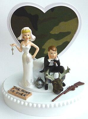 Wedding Cake Topper the Hunt is Over Deer Hunter Hunting Themed Camo Ball - Camo Wedding Theme